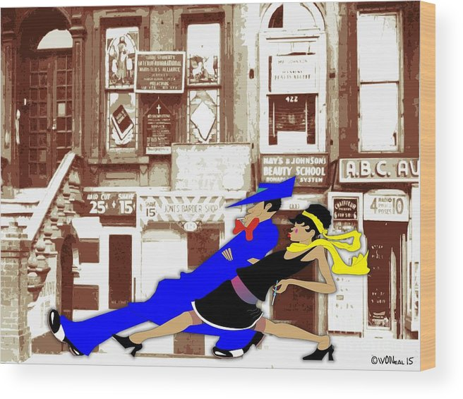 Harlem Wood Print featuring the digital art Harlem Strut by Walter Oliver Neal