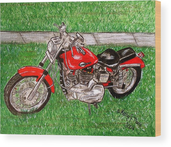 Harley Wood Print featuring the painting Harley Red Sportster Motorcycle by Kathy Marrs Chandler