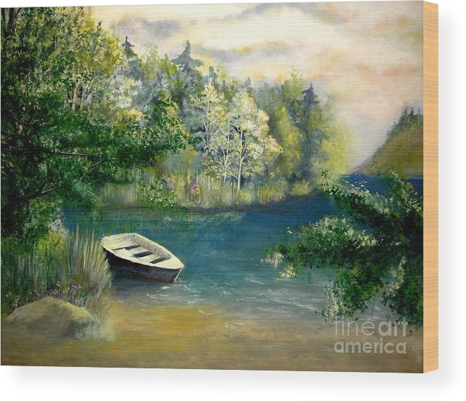 Landscape Wood Print featuring the painting Hatzec Lake by Vivian Mosley