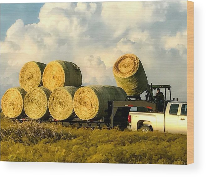 Hay Wood Print featuring the photograph Hauling Hay Bales 2 by Jeanie Mann