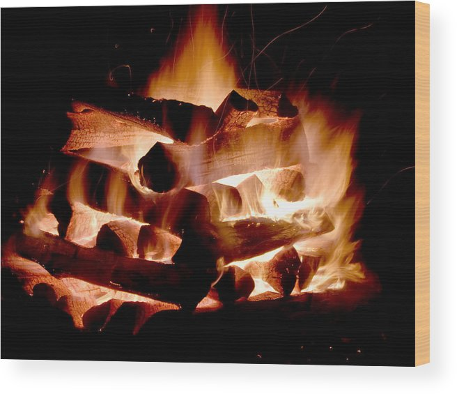 Fire Wood Print featuring the photograph Heart Of Fire by Jim DeLillo