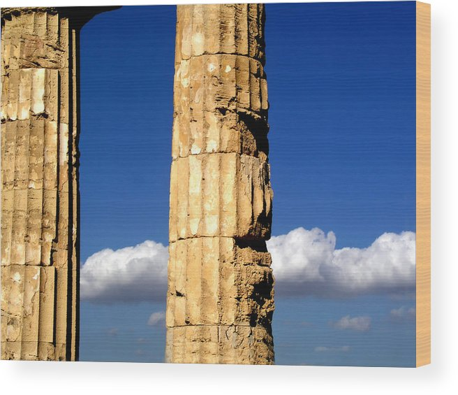 Cloud Wood Print featuring the photograph Hera Temple - Selinunte - Sicily by Silvia Ganora