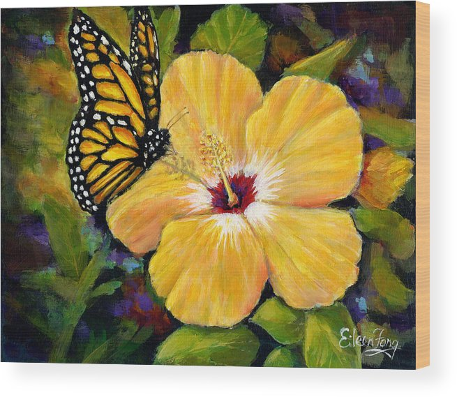 Butterfly Wood Print featuring the painting Hibiscus With Monarch by Eileen Fong