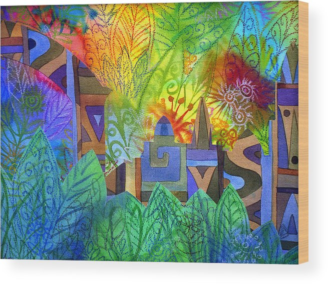 Jungle Mysterious Tropical Lost City Caribbean Bright Colours Wood Print featuring the painting Hidden City by Jennifer Baird