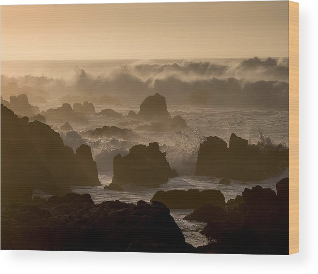 Beach Wood Print featuring the photograph High Surf At Asilomar Beach by Derek Dean