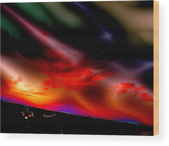 Sunset Wood Print featuring the digital art Highway Surreal Sunset by Abstract Angel Artist Stephen K