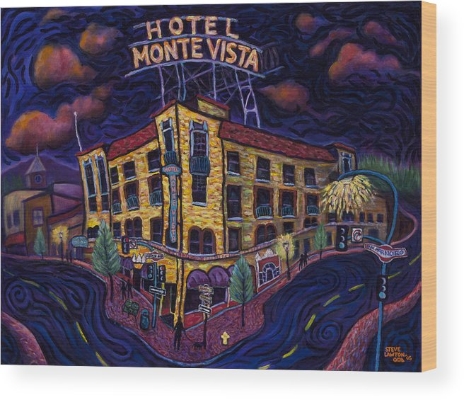 Historic Wood Print featuring the painting Historic Monte Vista Hotel by Steve Lawton