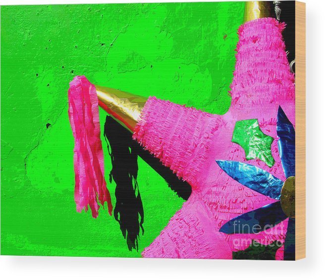 Darian Day Wood Print featuring the photograph Holiday Pinata By Darian Day by Mexicolors Art Photography