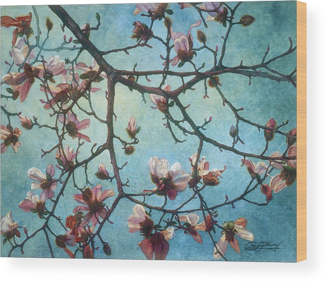 Blossoms Wood Print featuring the painting Homage To Vincent by Craig Gallaway