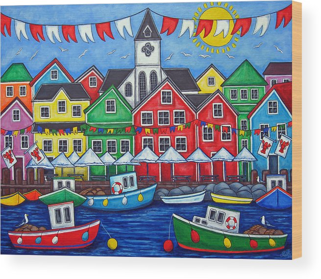 Boats Canada Colorful Docks Festival Fishing Flags Green Harbor Harbour Wood Print featuring the painting Hometown Festival by Lisa Lorenz