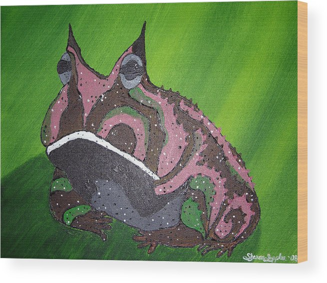 Amazon Horned Frog Wood Print featuring the painting Horny by Sharon Supplee