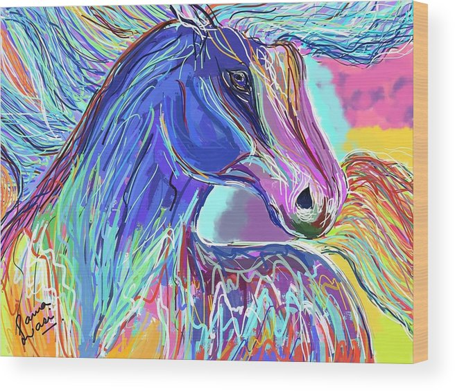 Horse Wood Print featuring the painting Horse by Sana Wasi