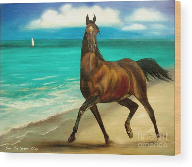 Horse Wood Print featuring the painting Horses In Paradise Dance by Gina De Gorna