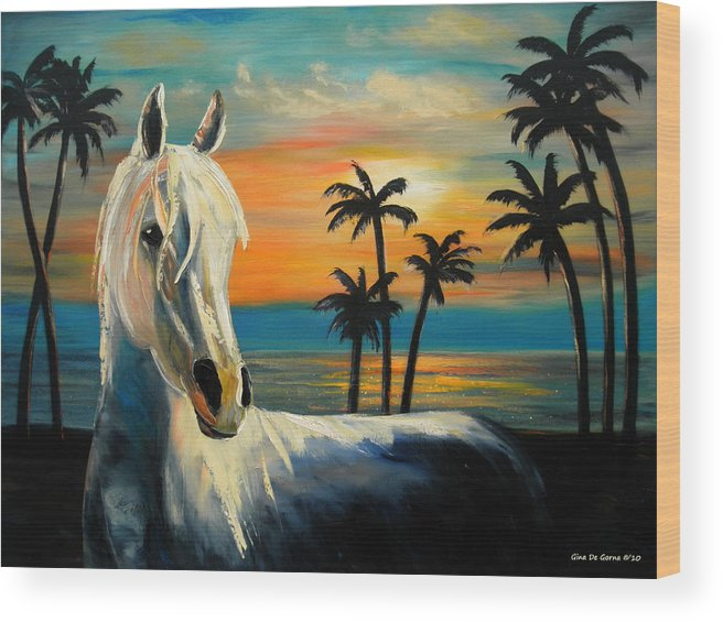 Horse Wood Print featuring the painting Horses In Paradise Tell Me Your Dream by Gina De Gorna