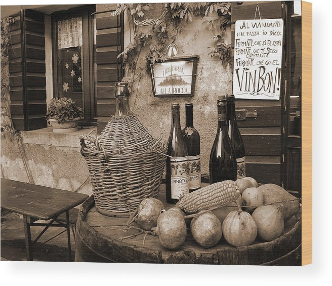 Hostaria Wood Print featuring the photograph Hostaria Alla Rocca by Donna Corless