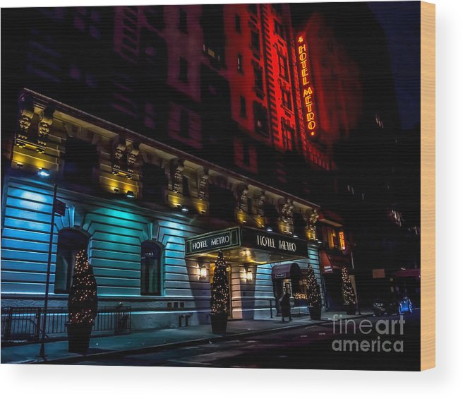 Hotel Wood Print featuring the photograph Hotel Metro, Nyc by James Aiken