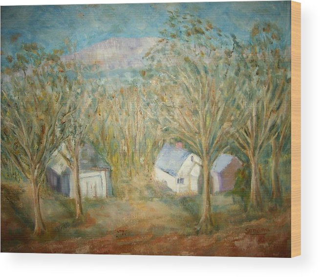 Landscape Mountain Trees Buildings Wood Print featuring the painting House With Overlooking Mountain by Joseph Sandora Jr