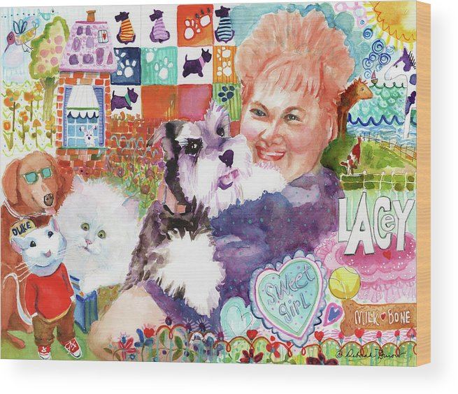 Fluffy Dog Wood Print featuring the painting I Remember Lacey by Deborah Burow