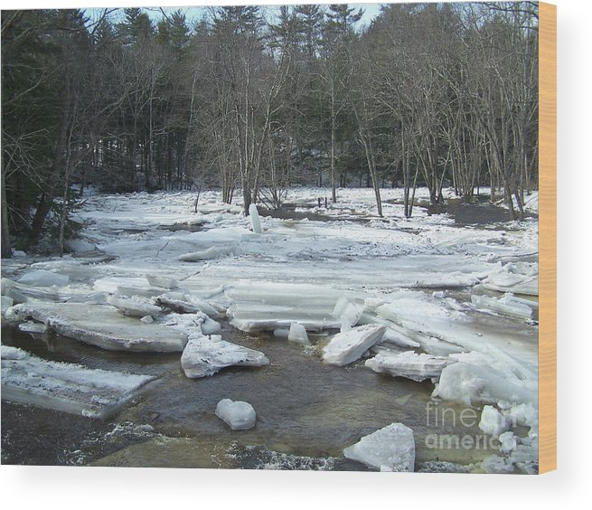 Landscape Wood Print featuring the photograph Ice Jam On The Isinglass River Barrington Nh by Chet Wheeler