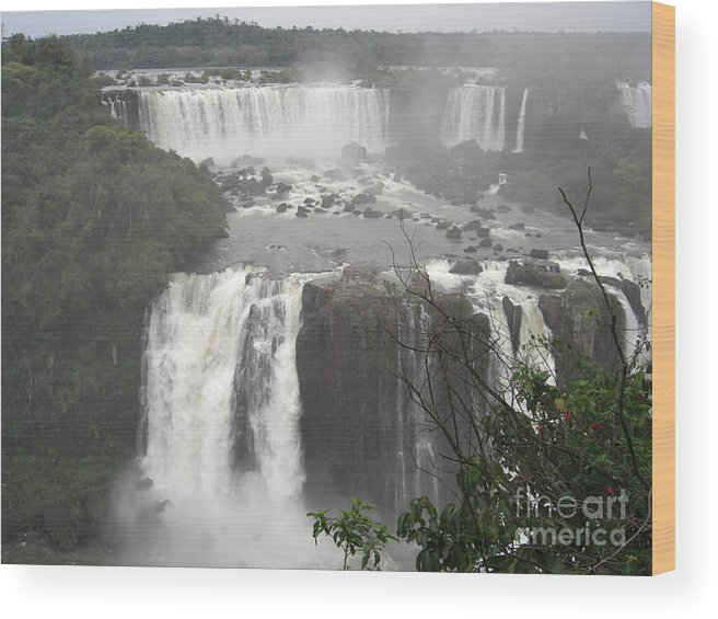 Iguassu Falls From Brazil Wood Print featuring the photograph Iguassu Falls by Paul Jessop