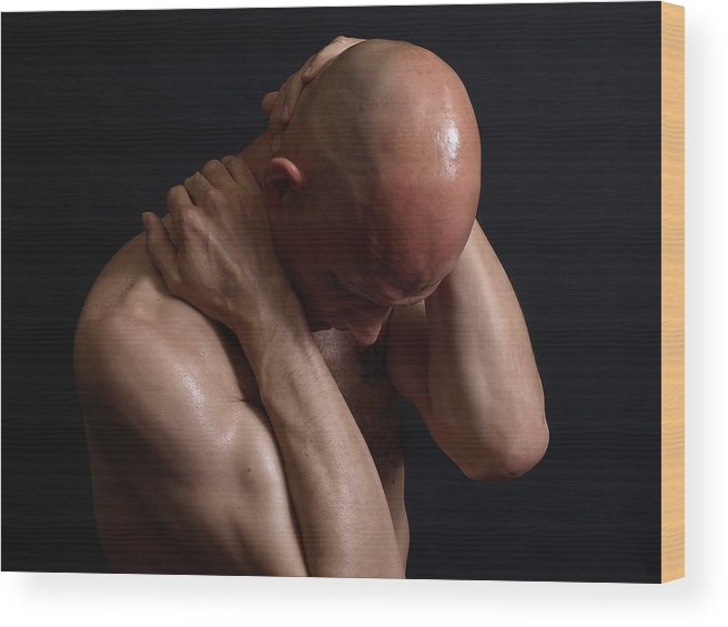 Male Wood Print featuring the photograph Insecurity by Robert Gebbie