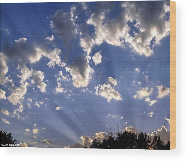 Impressionistic Sky Photograph Wood Print featuring the photograph Inspirational by Jane Tripp