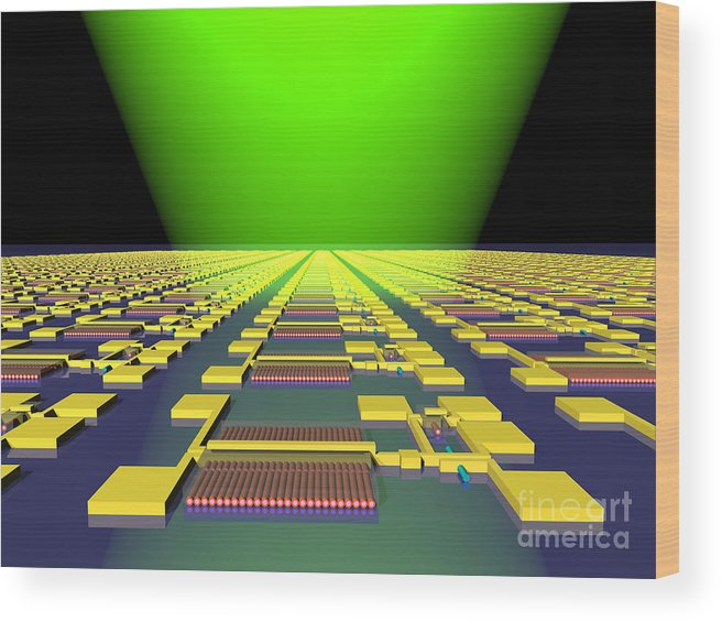 Science Wood Print featuring the photograph Integrated Nanowire Sensor Circuitry by Science Source