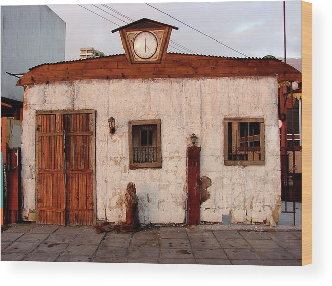 Iquique Wood Print featuring the photograph Iquique Chile Cantina by Brett Winn