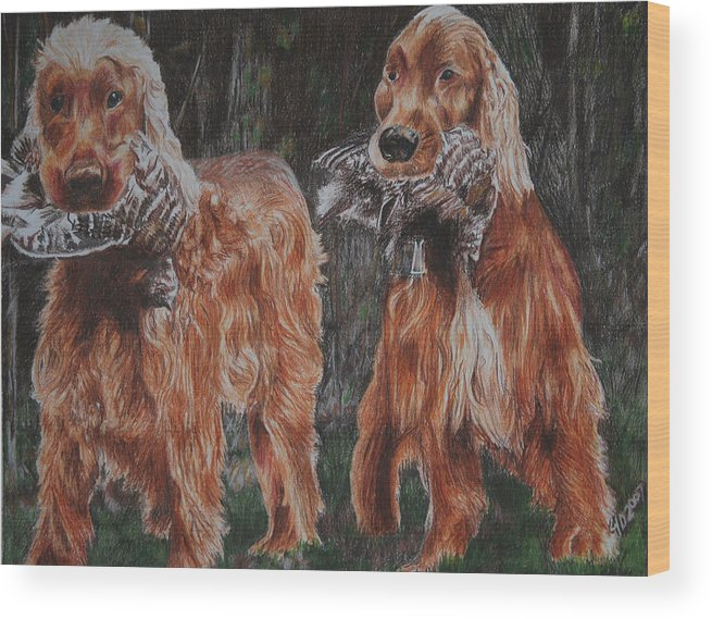 Dogs Wood Print featuring the drawing Irish Setters by Darcie Duranceau