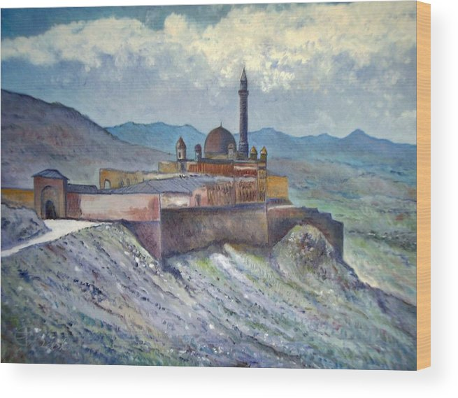 Turkey Wood Print featuring the painting Ishak Pasa Palace Dogubayarzit Anatolia Turkey 2006 by Enver Larney