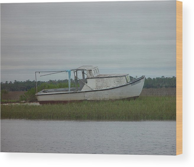 Boat Wood Print featuring the painting Island Boat Two by Debbie May