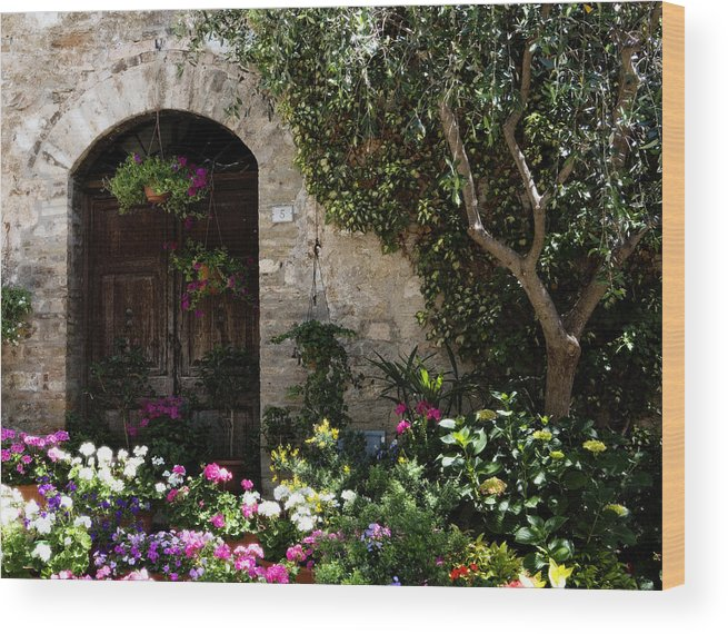 Flower Wood Print featuring the photograph Italian Front Door Adorned With Flowers by Marilyn Hunt