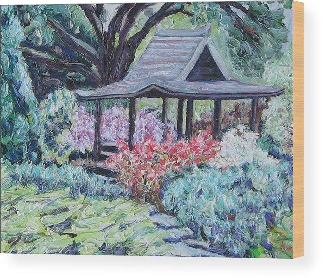 Garden Wood Print featuring the painting Japanese Garden by Richard Nowak