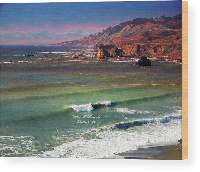 Paul Baker Wood Print featuring the photograph Jenner By The Sea by Paul Baker