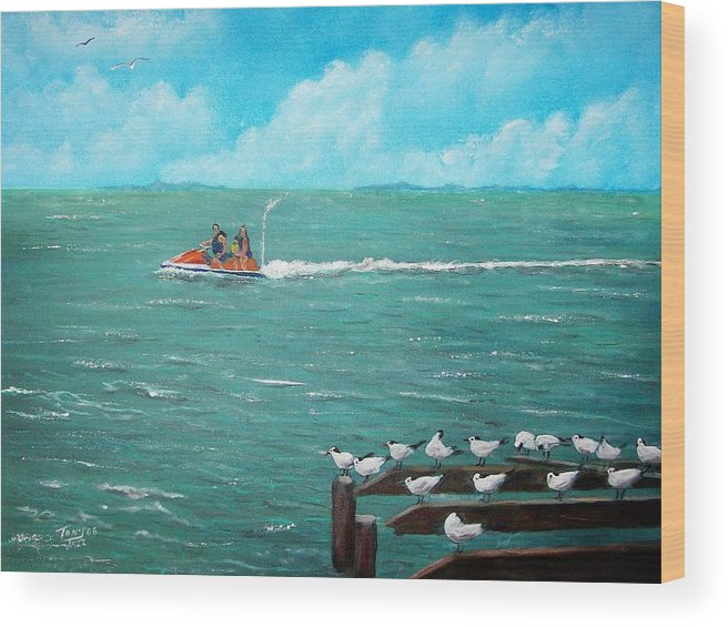 Seascape Wood Print featuring the painting Jet Ski Seascape by Tony Rodriguez