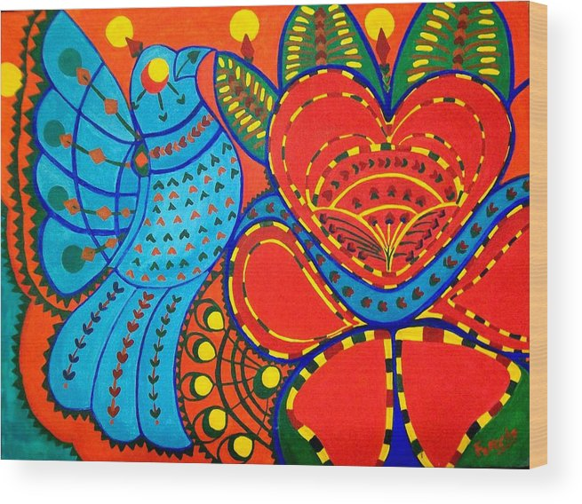 Contemporary Folk Wood Print featuring the painting Jinga Bird - Jinga Bird Series by Fareeha Khawaja