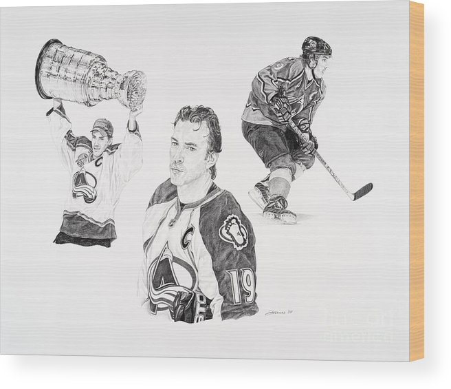 Hockey Wood Print featuring the drawing Joe Sakic by Shawn Stallings