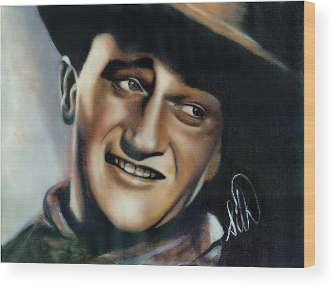 Portrait Wood Print featuring the painting John Wayne by Elizabeth Silk