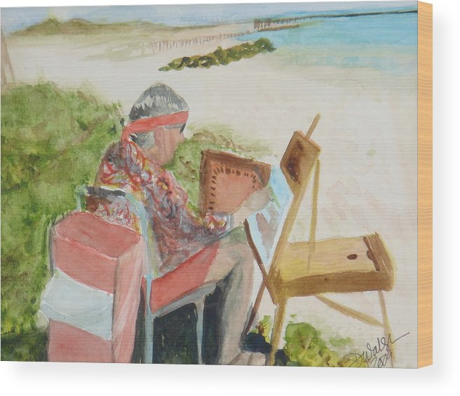 Painter Wood Print featuring the painting Julia Painting At Boynton Inlet Beach by Donna Walsh
