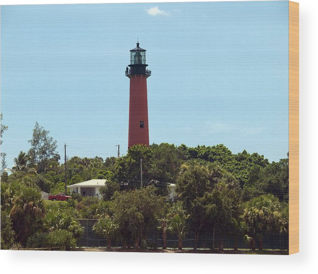 Florida; Juptier; Inlet; Loxahatchee; River; Atlantic; Coast; Shore; Beach; Light; Lighthouse; Beaco Wood Print featuring the photograph Jupiter Inlet Light by Allan Hughes