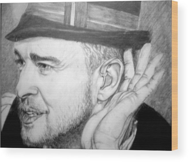 Celeb Portraits Wood Print featuring the drawing Justin Timberlake by Sean Leonard
