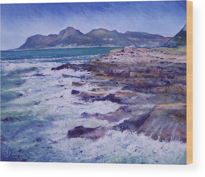 Kalk Bay South Africa Wood Print featuring the painting Kalk Bay And Fish Hoek Cape Town South Africa 2006 by Enver Larney