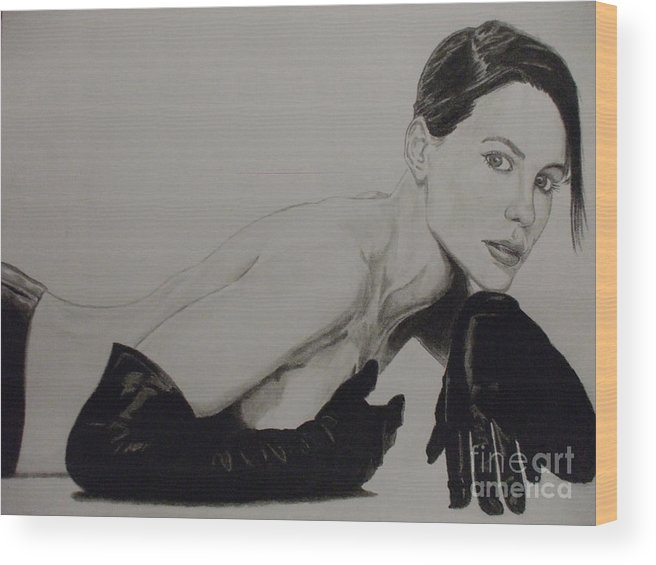 Kate Wood Print featuring the drawing Kate Beckinsale by John Prestipino