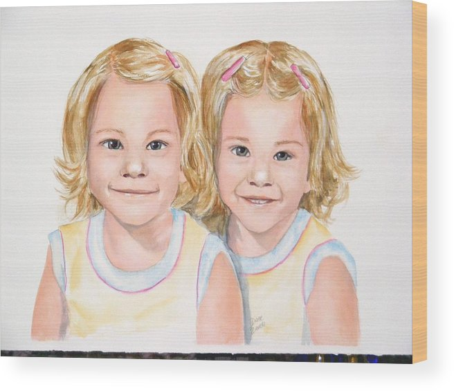Commissions Wood Print featuring the painting Katy And Kym by Diane Ziemski