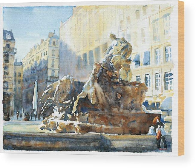 Europ Wood Print featuring the painting La Rousse Des Terreaux by Joel Tenzin
