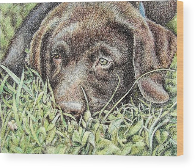 Dog Wood Print featuring the pastel Labrador Puppy by Nicole Zeug