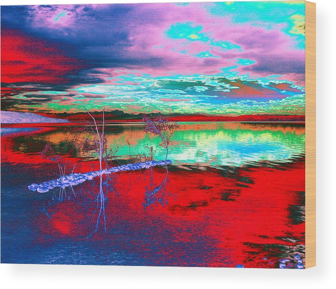 Sea Wood Print featuring the digital art Lake In Red by Helmut Rottler