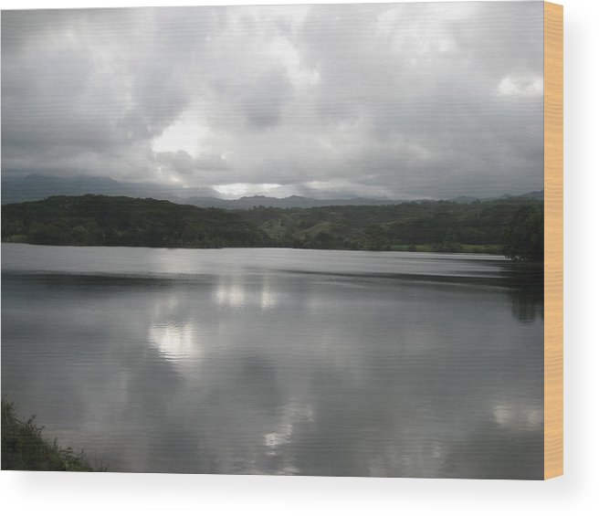 Landscape Of Water At Sunset Wood Print featuring the photograph Lake Stillness by Ileana Carreno