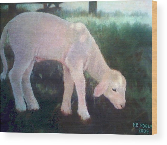 Lamb Wood Print featuring the painting Lamb Of God by Rebecca Poole