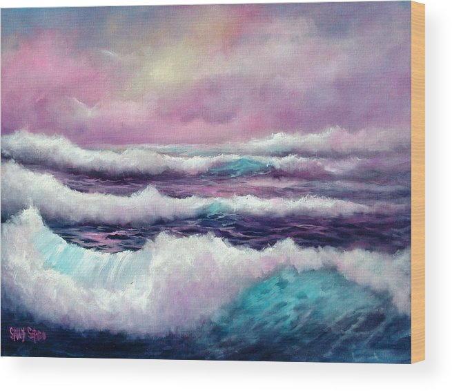 Ocean Wood Print featuring the painting Lavender Sea by Sally Seago